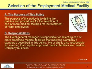 Safety Administration Guide 056 Selection of the Employment