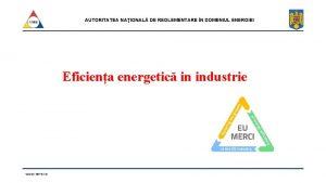 AUTORITATEA NAIONAL DE REGLEMENTARE N DOMENIUL ENERGIEI Eficiena