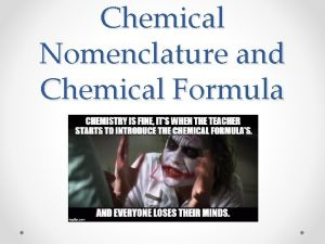Chemical Nomenclature and Chemical Formula Lesson Outline Writing