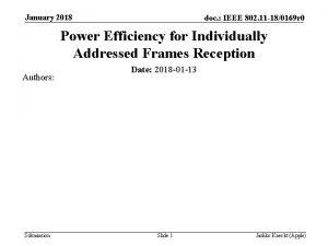 January 2018 doc IEEE 802 11 180169 r
