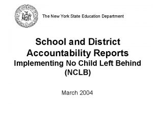 The New York State Education Department School and