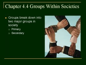 Chapter 4 4 Groups Within Societies n Groups