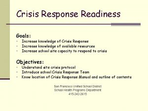 Crisis Response Readiness Goals Increase knowledge of Crisis
