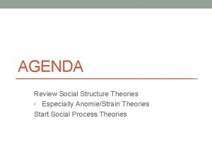 AGENDA Review Social Structure Theories Especially AnomieStrain Theories