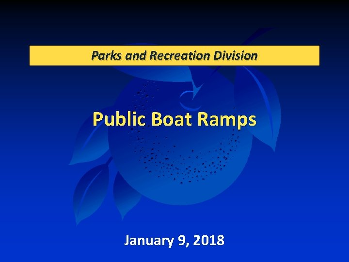 Parks and Recreation Division Public Boat Ramps January