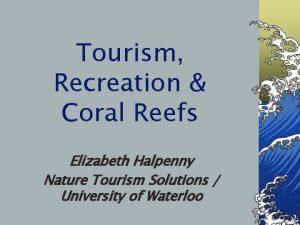 Tourism Recreation Coral Reefs Elizabeth Halpenny Nature Tourism