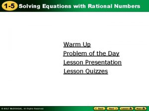 1 5 Solving Equations with Rational Numbers Warm