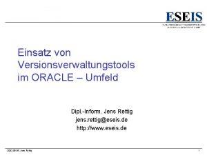 Einsatz von Versionsverwaltungstools im ORACLE Umfeld Dipl Inform