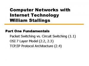 Computer Networks with Internet Technology William Stallings Part