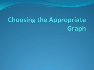 Choosing the Appropriate Graph Bar Graph Display and
