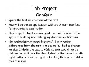 Lab Project Geo Quiz Spans the first six