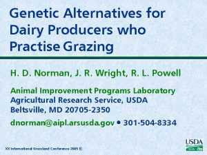 Genetic Alternatives for Dairy Producers who Practise Grazing