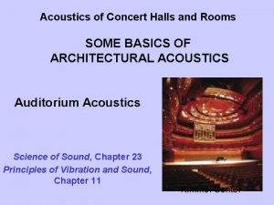 Acoustics of Concert Halls and Rooms SOME BASICS