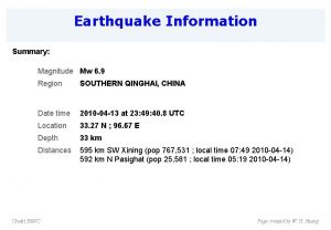 Earthquake Information Summary Magnitude Mw 6 9 Region