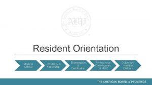 Resident Orientation Medical School Residency Fellowship Examination Certification