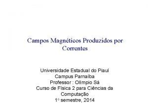 Campos Magnticos Produzidos por Correntes Universidade Estadual do