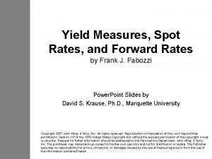 Yield Measures Spot Rates and Forward Rates by