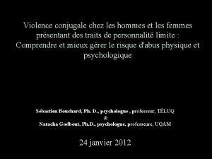 Violence conjugale chez les hommes et les femmes