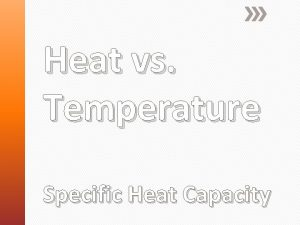 Heat vs Temperature Specific Heat Capacity Heat and