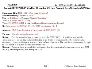 March 2019 doc IEEE 802 15 15 17