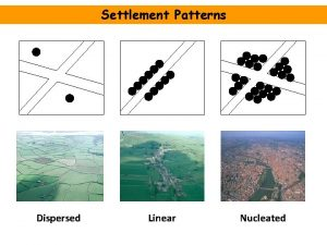 Settlement Patterns Dispersed Linear Nucleated Settlement Patterns and