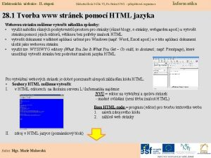 Elektronick uebnice II stupe Zkladn kola Dn VI