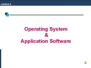 Lecture 4 Operating System Application Software File System