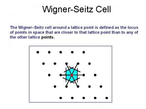 WignerSeitz Cell The WignerSeitz cell around a lattice