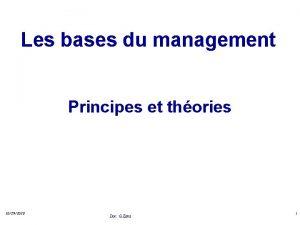 Les bases du management Principes et thories 10292020
