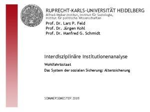 RUPRECHTKARLSUNIVERSITT HEIDELBERG AlfredWeberInstitut Institut fr Soziologie Institut fr