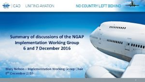 Summary of discussions of the NGAP Implementation Working
