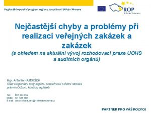 Regionln operan program regionu soudrnosti Stedn Morava Nejastj