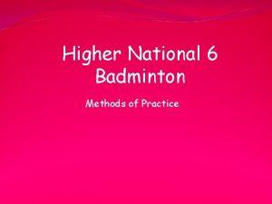 Higher National 6 Badminton Methods of Practice Li