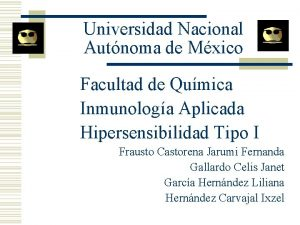 Universidad Nacional Autnoma de Mxico Facultad de Qumica