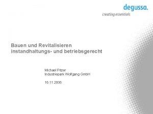 Bauen und Revitalisieren instandhaltungs und betriebsgerecht Michael Pitzer