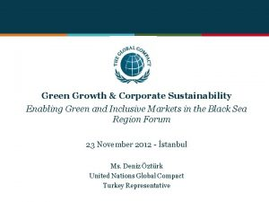 Green Growth Corporate Sustainability Enabling Green and Inclusive