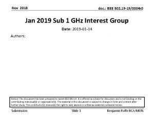 Nov 2018 doc IEEE 802 19 190004 r