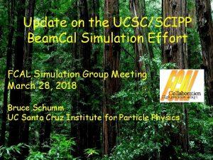 Update on the UCSCSCIPP Beam Cal Simulation Effort