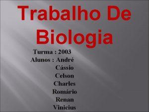 Trabalho De Biologia Turma 2003 Alunos Andr Cssio