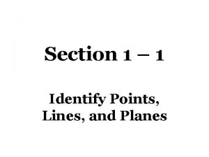 Section 1 1 Identify Points Lines and Planes
