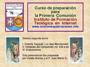 Curso de preparacin para la Primera Comunin Instituto
