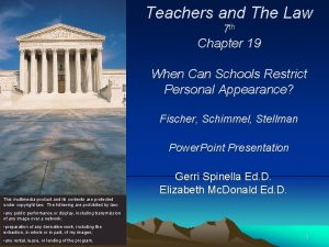 Teachers and The Law 7 th Chapter 19