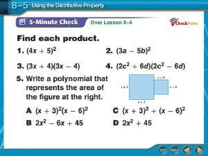 Over Lesson 8 4 Over Lesson 8 4
