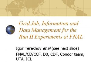Grid Job Information and Data Management for the