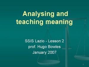 Analysing and teaching meaning SSIS Lazio Lesson 2