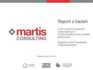Raport z bada CSR w opinii inwestorw indywidualnych