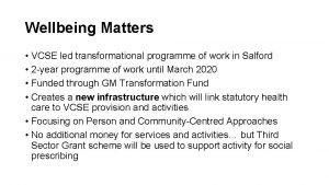 Wellbeing Matters VCSE led transformational programme of work