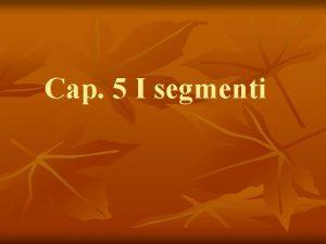 Cap 5 I segmenti Definizione n n n
