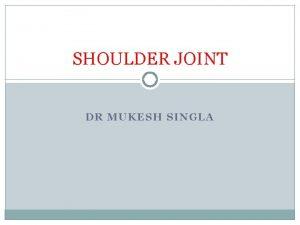 SHOULDER JOINT DR MUKESH SINGLA ARTICULATION 2 Articulation