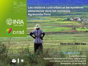 Les relations ruralurbain et les systmes alimentaires dans